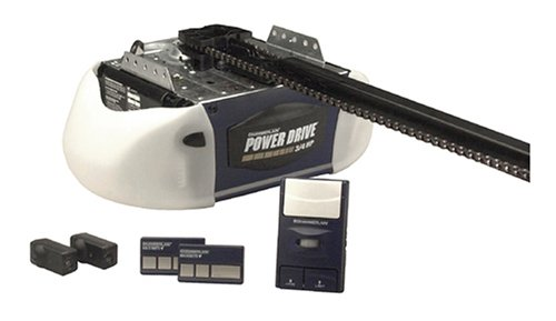 the premium garage door opener weighs 405 lbs and has a 34 horse power this strong and quiet build makes it perfect for lifting heavy or fully wooden